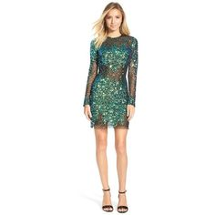 Junior Mac DuggalSequin Illusion Body-Con Dress (2.265 HRK) ❤ liked on Polyvore featuring dresses, sequin dresses, long sleeve dress, long sleeve cocktail dresses, blue green dress and green sequin dress