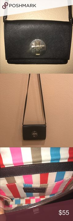 Kate spade crossbody Black saffiano Kate spade crossbody with silver hardware. Hardware does show some wear. Bag is in great condition. kate spade Bags Crossbody Bags