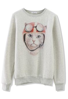 Cat Print Sweater - kitty wearing a helmet & goggles, ready to go! :)