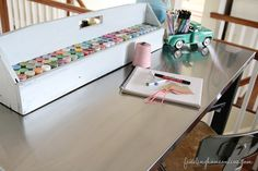 CraftWorkTableIkeaHack thumb Ikea Hack Craft Table (& Craft Paint Storage!)