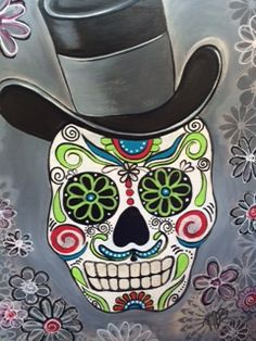 Sugar Skull with hat. Acrylic on Canvas. Day of the Dead, Halloween Canvas Paintings. Starving Artist Studio.