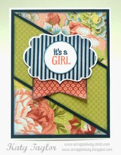 An Inside to my Heart...#Airana Baby Girl Card #ctmh #stamping