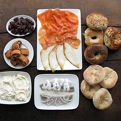 Pushcart to Posh- Gaspe Nova, Scottish Salmon, buttery Sable, Sturgeon, whipped Plain and Scallion Cream Cheese, Pickled Herring fillets with plain and cream sauce, decadent Honey Roasted Pecans, Traditional Rugelach, and Traditional Hand-Rolled New York Bagels and Bialys
