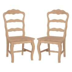 International Concepts Versailles Solid Wood Side Chair in Unfinished (Set of 2)