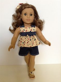 American Girl 18-inch Doll Clothes - Ruffled Star/Polka Dot Top Shorts & Hair Bow