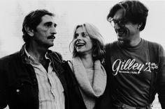 Harry Dean Stanton, Nastassja Kinski and Wim Wenders. Paris, Texas BTS (1984).