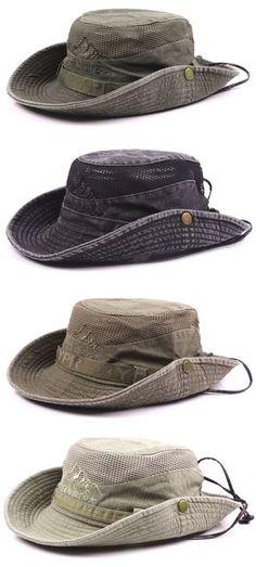 d6e0b38c3d0c7 Mens Summer Cotton Embroidery Visor Bucket Hats Fisherman Hat Outdoor  Climbing Mesh Sunshade Cap Fisherman s Hat