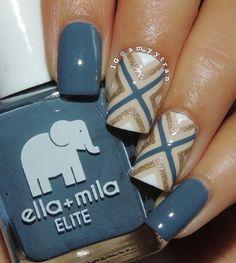 Nail Art using Ella + Mila: ☆ Yacht Club ☆ ... a blue-grey nail polish