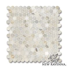 Studio Line, ready to ship 2cm pennyrounds pattern shown in Calacatta Gold(p)   New Ravenna Mosaics