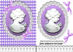 Purple cameo and white lace with bows on Craftsuprint - Add To Basket!