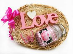 A beautiful 'Love' shaped standing ornament and a scented soy candle in a glass jar with a lid make up this gorgeous Love Pink basket! Perfect for the ladies in your life!  Price: 17.99 http://luxuryhampers.ie/p/love_pink_basket