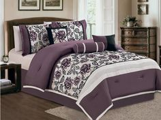 11 Piece Queen Purple and Ivory Flocked Bed in a Bag w/500TC Sheet Set