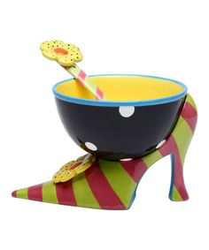 This Stripe Heel Ice Cream Bowl Set by Sugar High Social is perfect! #zulilyfinds