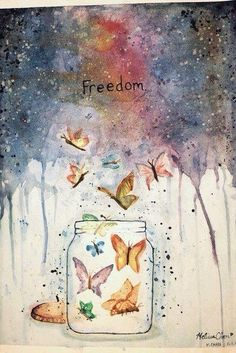 A beautiful illustration of freedom Kunstjournal Inspiration, Art Journal Inspiration, Typography Inspiration, Psychedelic Art, Butterfly Art, Butterflies, Illustrations, Medium Art, Mixed Media Art