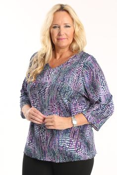 Vikki Vi Serenade 3/4 Sleeve Top A great plus size piece for your holiday party.