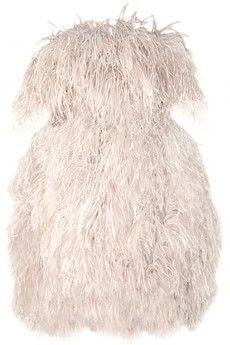 8fda16b1ca1 Alexander McQueen off the shoulder feather dress Moda