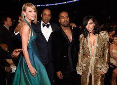 Taylor Swift, Jay Z, Kanye West and Kim Kardashian West attend The 57th Annual GRAMMY Awards