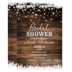 Rustic Barn Wood Gold Silver Winter Bridal Shower Card - barn gifts style ideas unique custom