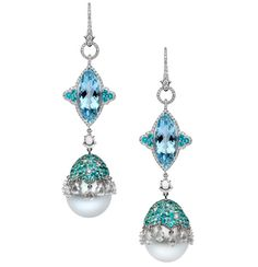 AUTORE Venezia Serenissima Earrings in white gold, with South Sea pearls, paraiba, aquamarines and diamonds. Unique one-off piece.