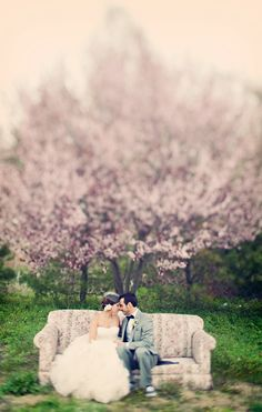 Breath-taking. a couch for an outdoor wedding, such a whimsical photo op!