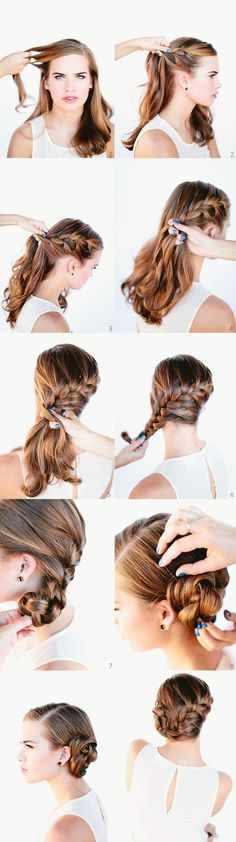 Really cute hairstyle for a wedding. Would look great with a little flower or pretty pin by the bun too!