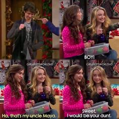 """""""Girl Meets Home for the Holidays"""" - Joshua, Maya and Riley I love how her face goes from happy to worried Boy Meets World Quotes, Girl Meets World, Disney Channel Shows, Disney Shows, Old Disney, Cute Disney, Riley Matthews, Movies Showing, Movies And Tv Shows"""