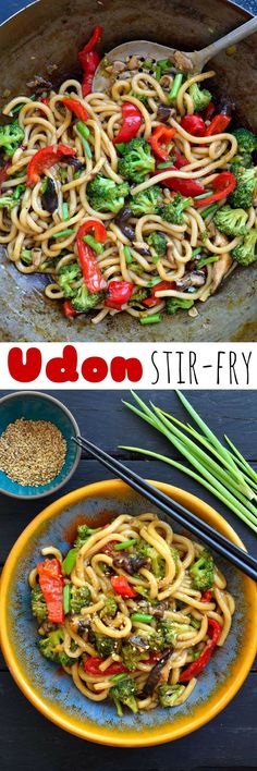 Vegetable udon stir-fry is a super easy vegan/vegetarian dish that's tasty and ready in just 15 minutes! Makes a great weeknight dinner idea.