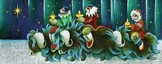 Nathalie Parenteau Canadian Yukon Artist  Xmas Card Wisemen Of The Barrens     One of my favorite Canadian artists - was reminded of her work via a FB post today and had to share her Xmas work
