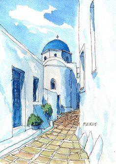 Paros Chapel, Greece, 12 x 8 art print from an original watercolor painting via Etsy
