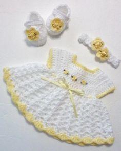 Crochet Patterns Newborn Crochet Newborn Baby Girl Dress Set with Headband and Mary Jane Booties Dress S… Crochet Baby Blanket Beginner, Baby Girl Crochet, Crochet Baby Clothes, Crochet Baby Hats, Baby Knitting, Dress Set, Baby Dress, Newborn Crochet Patterns, Baby Sweaters