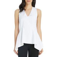 Ellen Tracy Handkerchief Peplum Shell (745 UAH) ❤ liked on Polyvore featuring tops, white, peplum tank top, v neck tank top, white peplum tank top, white v neck tank top and peplum tops