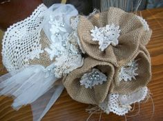 Wedding Bride Country Burlap Cotton Doilie by BlissfulBashfulBride, $75.00