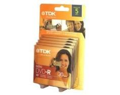 TDK 1.4GB Mini DVD-R Disc For Camcorder 5-Pack 30-Minute Recording Time 5-Disc Blister by TDK. $28.97. TDK 1.4GB Mini DVD-R Disc For Camcorder 5-Pack 30-Minute Recording Time 5-Disc Blister