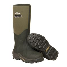 A premium cold weather working welly featuring a 'sticky' rubber sole with cleats for excellent grip in all conditions and a lining of fleece, Airmesh and of Thermafoam above the foot. Muck Boots, Wellington Boot, Cold Weather, Cleats, Uggs, Footwear, Fishing Tackle, Unisex, Green