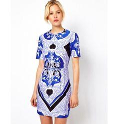 Sukienka Asos Cotton Mini Cobalt/Black Scarf Print - niebieski