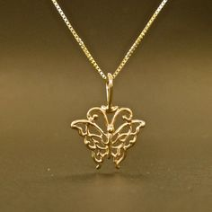 GOLD Butterfly 14k necklace pendant solid gold by nancyhoytjewelry