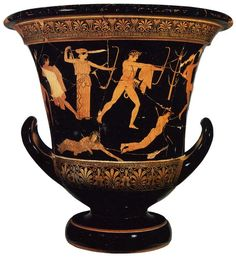 Attic vase (crater cup, h. 54 cm) painting in red figures, Louvre in Paris, 460-450 BC. https://hemmahoshilde.wordpress.com/2016/01/13/niobe-pottery/  <--- You are welcome to read more about Niobe on my blog :).