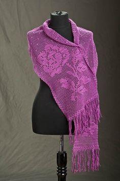 Ravelry: Winter Rose Filet Wrap pattern by Universal Yarn Crochet Shawl Free, Filet Crochet Charts, Crochet Shawls And Wraps, Crochet Scarves, Crochet Clothes, Crochet Flower Patterns, Knitting Patterns Free, Thread Crochet, Knit Crochet