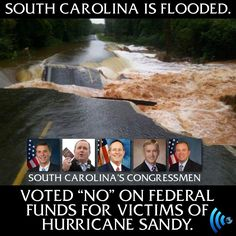 """It took Congress nearly three months to hammer out a relief package following Hurricane Sandy — and while most in the media hailed it as a """"bipartisan agreement"""" (the vote was 241-180), I think it's important to note every last Republican in 22 states voted NO.   Republicans just HATE spending your tax dollars — unless it affects them directly. Countdown to impassioned speeches on the floor of the House by these five hypocrites in 3 ... 2 ..."""