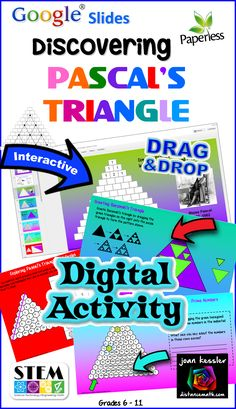 In this engaging fun Google® activity your students will learn about Pascal's triangle with a series of six interactive discovery activities.