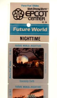 Vintage-1982-Walt-Disney-Epcot-Center-Pana-Vue-Slides-Future-World-Nighttime
