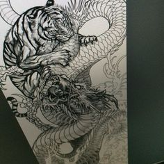 How To Leave Dragon And Tiger Tattoo Without Being Noticed - Dragon Tiger Tattoo, Dragon Tattoo Drawing, Tiger Tattoo Sleeve, Tiger Drawing, Dragon Sleeve Tattoos, Japanese Tiger Tattoo, Japanese Dragon Tattoos, Japanese Tattoo Designs, Japanese Sleeve Tattoos