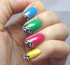 Multi colored animal print nails, so cool!