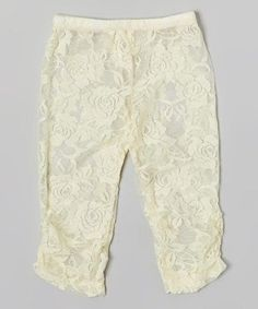 Love this Ivory Lace Ruched Leggings - Infant on #zulily! #zulilyfinds