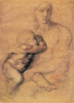 Michelangelo, Madonna and Child (c. 1535-40) Black and red chalk and white pigment, Cartoon on prepared paper. Casa Buonarroti, Florence.