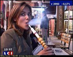 Melissa Theuriau Smoking Hookah. Shisha Shop, 11-13 Fairways Business Park, Lammas Road, London E10 7QB 020 8133 3263. #shisha #coals #hookah #shishaflavours #flavours #shisha #celebrity #charcoal #shishapipe