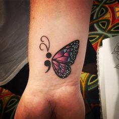Image result for semicolon tattoo butterfly