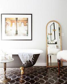 GO.HOME. #scaletile #clawfootbathtub #bathtub #bathroomdecor #design #relax #caciqueboutique