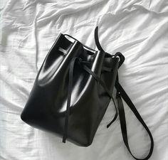 Black leather Bucket bag / Handbag / Shoulder Bag / Sling Bag - Minimalist, Modern, Glossy, Classic, Gifts For Her, Genuine Leather