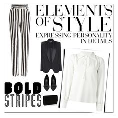 """""""Graphic Striped Pants"""" by armsdani ❤ liked on Polyvore featuring Tom Ford, Yves Saint Laurent, See by Chloé, Dolce&Gabbana, Vera Wang and stripedpants"""
